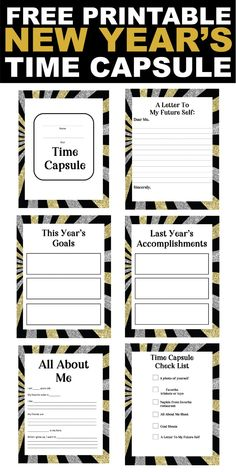 This New Year's Eve time capsule is such a fun activity for kids or adults! Comes with free printable pages, suggestions of what to put in a time capsule, and great DIY ideas! New Year's Eve Activities, Activities For Adults, Lds, Time Capsule Kids, New Years Eve Games, New Year's Games, What To Use, Activity Days, New Years Eve Party