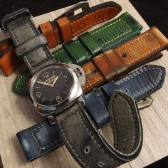 Vintage colored straps for the #Panerai PAM372 by @kyros_straps What's your favorite? I think I'm going with the grey!