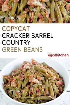 won't believe how easy it is to copy this popular side dish from Cracker Barrel at home. The recipe is made with bacon, green beans, onion, and seasonings. Side Dish Recipes, Veggie Recipes, Cooking Recipes, Cat Recipes, Easter Recipes, Canned Vegetable Recipes, Canned Green Bean Recipes, Salad Recipes, Recipes