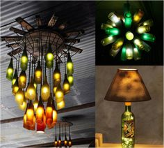 Wine bottle chandelier and table lamp from Practical Ideas On How To Design And Decorate With Glass Bottles
