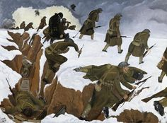 """""""Over The Top"""" is a painting by British painter John Nash. He painted it 1918. It is a clear representation of the moment when soldiers going """"over the top"""" during the trench warfare. The painting is of 1st Artists' Rifles in Marcoing. Nash shows the suffering of these times. The cold weather, the dead bodies in the trenches, and depressed movements and faces of the soldiers."""