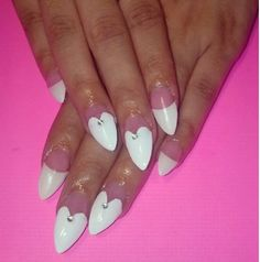 White tip stiletto nails with hearts