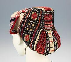 Cap.  Date: 1890–1910. Culture: Slovak. Medium: cotton, wool, silk. Dimensions: 9 x 9 1/2 in. (22.9 x 24.1 cm).