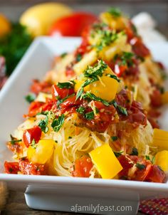 Spaghetti Squash Gremolata - Tender roasted spaghetti squash tossed with pan roasted tomatoes and a wonderful gremolata of lemon zest, garlic and parsley. : afamilyfeast --- pp: This recipe is amazing! (And so healthy too! Low Carb Recipes, Vegetarian Recipes, Cooking Recipes, Healthy Recipes, Cooking Bacon, Cooking Oil, Cookbook Recipes, Courge Spaghetti, Spaghetti Squash Recipes