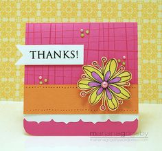 cute, colorful, with flower and white repeated in sentiment and punched border