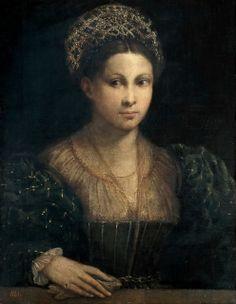 Dossi , Dosso (Italian, ca.1490-1542) -- Дама в зеленом тюрбане, 1530, 64 см x 50 см, холст, масло