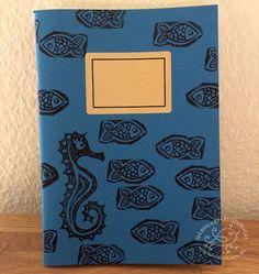 DIN A5 - Schreibheft Skizzenheft A5 Seepferd handbedruckt - ein Designerstück von silvanillion bei DaWanda