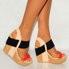 Coral, black, cork elastic wedges.