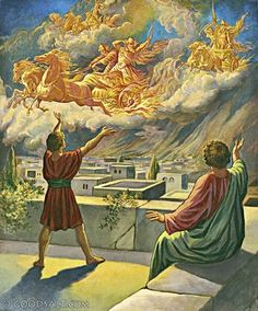 """2 Kings Then Elisha prayed, """"O Lord, open his eyes and let him see!"""" The Lord opened the young man's eyes, and when he looked up, he saw that the hillside around Elisha was filled with horses and chariots of fire. Bible Images, Bible Pictures, Bible Art, Bible Scriptures, Bible Quotes, Daily Scripture, Daily Devotional, La Sainte Bible, Chariots Of Fire"""