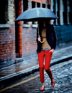 red trousers and camel sweater