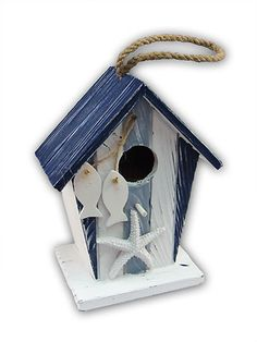Blue Stripes Birdhouse Wooden Handmade Nautical Décor$38