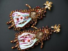 Bead embroidered earrings Shibori silk ribbon Beadwork  seed beaded jewelry Ooak