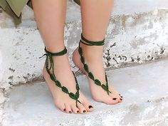barefoot+crochet+sandals | ... JEWELLERY & ACCESSORY GALLERY: Crochet barefoot sandals, green leaves