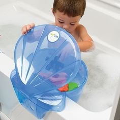 Bath toy storage without the suction cups that fall off every 5 minutes. PERFECT for bath time