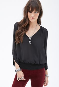 Smocked Crepe Peasant Top   FOREVER21 - 2000117879  - I love this in the mauve color