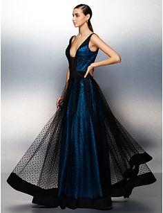A-line/Princess V-neck Floor-length Tulle Evening Dress (zy019) - USD $ 129.99