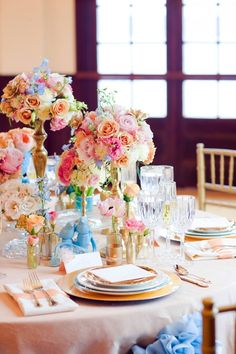 Turquoise Pink and Gold Reception Table Decor 2