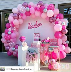 Barbie Party Decorations, Barbie Theme Party, Barbie Birthday Cake, Birthday Balloon Decorations, Birthday Balloons, Anniversaire Candy Land, 6th Birthday Parties, 7th Birthday, Garden Birthday