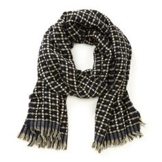 Textured navy and cream plaid scarf