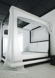 Modern black and white canopy bed contemporary bedroom design ideas