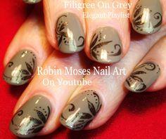 "Grey with Filigree! #falltrends"" ""nail #fallnailart #autumn #fall #fallnails #fall2015 #nailart #nails #art #nail #design #tutorial #falltrends #diy #howto #christianlouboutin #polish #smokey"
