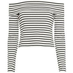 Derek Lam 10 Crosby Striped Off The Shoulder Top (865 BRL) ❤ liked on Polyvore featuring tops, shirts, crop tops, long sleeves, blusas, off-shoulder crop tops, off shoulder tops, white shirts and long sleeve crop top