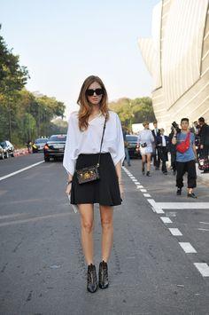 Italian blogger Chiara Ferragni, aka The Blonde Salad, exiting the Louis Vuitton show. Chiara is wearing Louis Vuitton shoes and