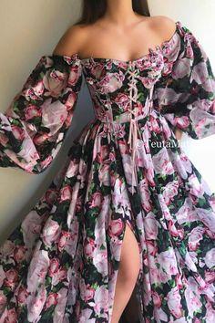 Flowery Dresses, Pretty Dresses, Beautiful Dresses, Elegant Dresses For Women, Simple Dresses, Dress Dior, Evening Dresses, Prom Dresses, Flirt