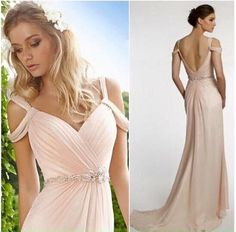 Find More Bridesmaid Dresses Information about 2016 Pink Cheap Backless Evening Gowns Beaded Waist Ruffled Chiffon Girls' Long Maid of Honor Dresses with Straps,High Quality dresse,China gowns formal dresses Suppliers, Cheap gown silver from lovestory9 on Aliexpress.com