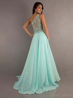 Glamorous A-line/Princess One-shoulder Draped Beading Floor-length Prom Dress 2014
