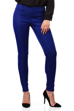 Cornflower blue tailored pants with decorative zipper