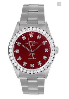 Rolex Oyster Perpetual Air King Red Dial with Diamonds and 2.00ct Diamond Bezel.