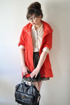 White button-up, floral skirt, red jacket