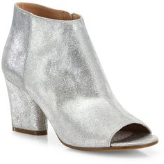 Maison Margiela Women's Metallic Leather Open-Toe Booties ($920) ❤ liked on Polyvore featuring shoes, boots, ankle booties, apparel & accessories, leather bootie, leather boots, open toe boots, metallic booties and leather ankle boots