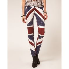 Religion Skinny Jeans With Union Jack Print ($69) ❤ liked on Polyvore