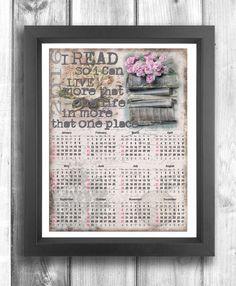 Calendario 2016 stampabile per gli amanti dei libri e della lettura 2016 Printable Calendar for bookworms