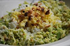 shaved brussels sprout salad with sieved egg and marcona almonds