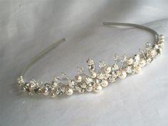 handmade swarovski wedding tiara ivory pearls by HelenCurtisTiaras, £46.00