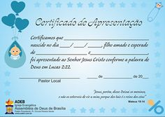 certificado de batismo evangélico - Pesquisa Google