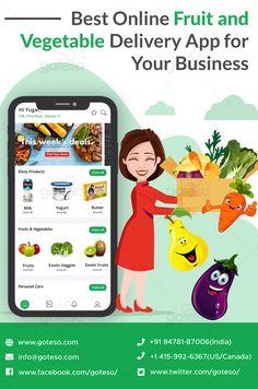 Best Online Fruit and Vegetable Delivery App for Your Business Supermarket App, Online Fruits And Vegetables, About Us Page Design, Vegetable Delivery, Grocery Delivery App, Vegetable Packaging, Online Grocery Store, Food Poster Design, App Development