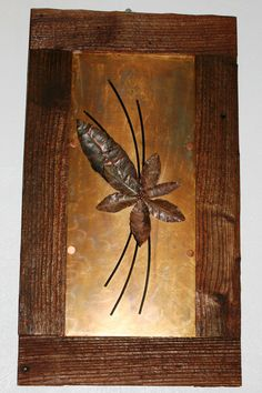 Copper on Copper leaves in barnwood frame