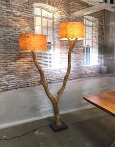 Unique double floor lamp of old weathered oak by GBHNatureArt