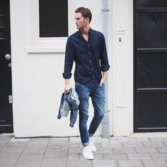 How to Wear a Navy Long Sleeve Shirt (361 looks) | Men's Fashion