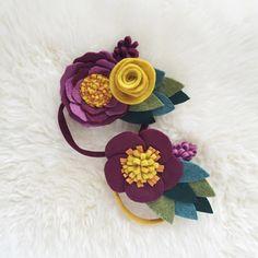 Diadema flor fieltro / / Borgoña y mostaza otoño por BakerBlossoms