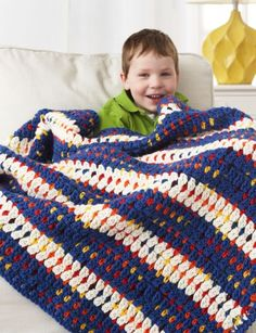 Woven-Look Striped Blanket - Patterns | Yarnspirations