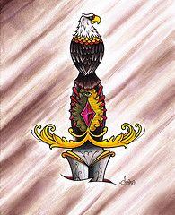 eagle dagger watercolor matthew james powell III (Clandestine Rabbit Tattoo Studio) Tags: rabbit tattoo watercolor eagle matthew clown traditional knife powell dagger clandestine