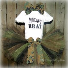 Items similar to Marine Military Brat Tutu Outfit With Matching USMC Bow and Headband - For Sizes 18 Months - on Etsy