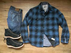 RRL Blue/ Blk Wool Plaid Woodsman/ Mackinaw Shirt Jacket.  Men's Medium.  Available in our eBay shop.