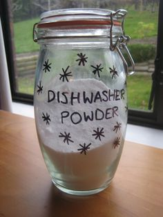 "Homemade dishwasher powder and rinse aid.  I've been searching for a recipe for use in the dishwasher, as this has been one area that I haven't been able to ""go green"" with successfully.  Yet.  We'll see..."