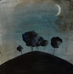 Landscape Painting - Watercolor - - Night Sky with Moon Stars and Trees